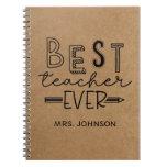 Cute Faux Kraft Best Teacher Ever  Notebook