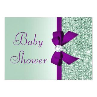 Cute Faux Mint Sequins Purple Bow Baby Shower Card
