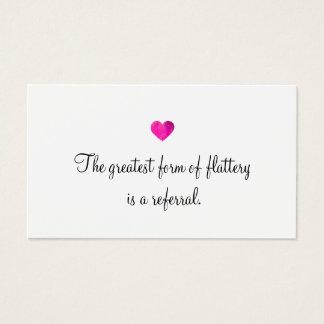 Cute Faux Pink Foil Heart Customer Referral Card