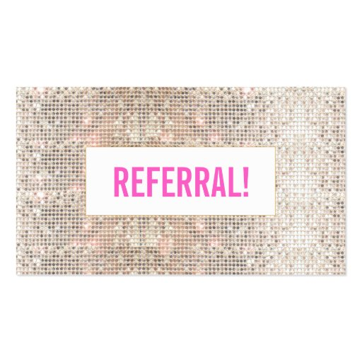 Cute Faux Silver Sequins Pink Cosmetology Referral Business Cards
