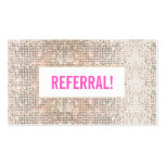 Cute Faux Silver Sequins Pink Cosmetology Referral Double-Sided Standard Business Cards (Pack Of 100)
