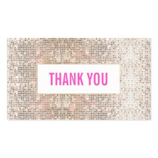 Cute Faux Silver Sequins Pink Thank You Insert Business Card