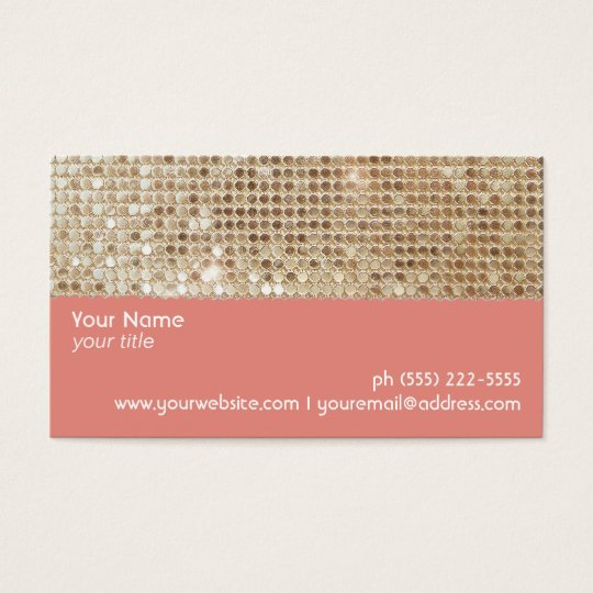 Cute FAUX Sparkly Gold Sequins Peach Business Card