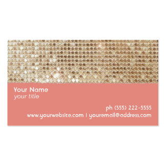 Cute FAUX Sparkly Gold Sequins Peach Double-Sided Standard Business Cards (Pack Of 100)