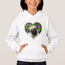 Cute Fawn Colored Pug Puppy Dog Face Photo Heart . Hoodie