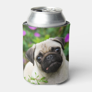 Cute Fawn Colored Pug Puppy Dog Photo Funny Bawdle Can Cooler