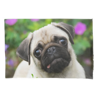 Cute Fawn Colored Pug Puppy Dog - Pillow-Cover Pillow Case