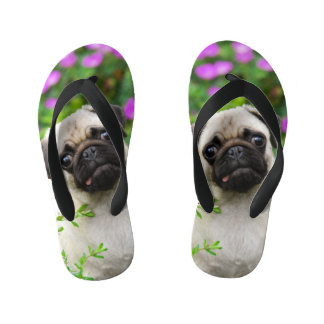 Cute Fawn Colored Pug Puppy Dog Portrait - Kids Kid's Flip Flops