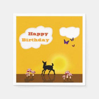 Cute Fawn - Happy Birthday Paper Napkin