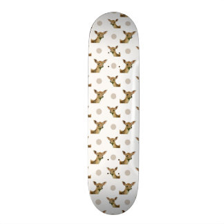 Cute fawn polka dots pattern skateboard deck