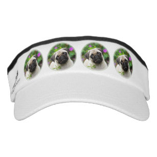 1b37ae512dc Cute fawn pug dog puppy visor