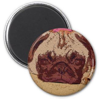 Cute Fawn Pug Puppy 2 Inch Round Magnet