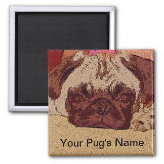 Cute Fawn Pug Puppy 2 Inch Square Magnet