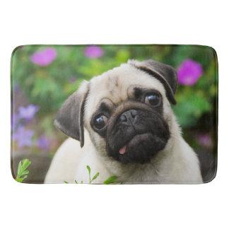 Cute fawn pug puppy bath mat
