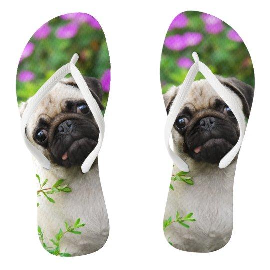 Cute Fawn Pug Puppy Flip Flops Zazzle