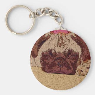 Cute Fawn Pug Puppy Key Chain