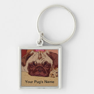 Cute Fawn Pug Puppy Silver-Colored Square Keychain