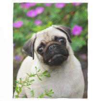 Cute fawn pug puppy, soft fleece blanket