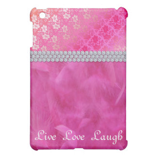 Cute Feather Floral Lace Pink Diamond Dots iPad Mini Cover