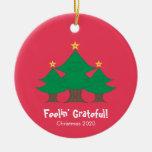 Cute Feelin' Grateful Christmas Round Ceramic Ornament