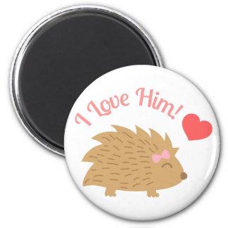 Cute Female Hedgehog I Love Him Magnet