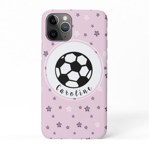 Cute Feminine Soccer Ball Design Personalized Cool iPhone 11 Pro Case