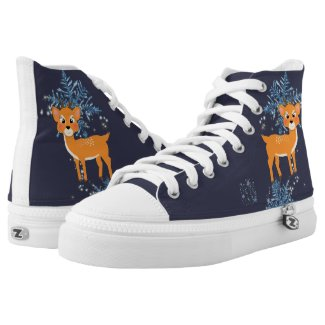 Cute Festive Baby Reindeer And Snowflakes Printed Shoes