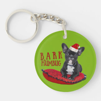 Cute Festive BARK Humbug French Bulldog Keychain
