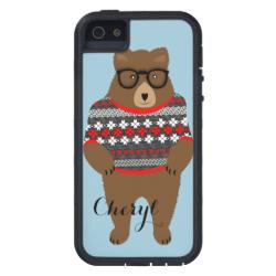Cute Festive Bespectacled Big Bear Design iPhone 5 Cases