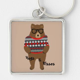 Cute Festive Bespectacled Big Bear Design Keychain
