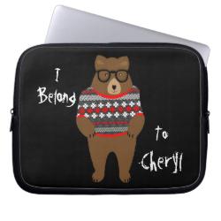 Cute Festive Bespectacled Big Bear Design Laptop Sleeve