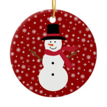 Cute Festive Cartoon Snowman Snowflakes & Stars Ceramic Ornament