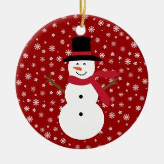 Cute Festive Cartoon Snowman Snowflakes & Stars Ceramic Ornament
