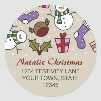Cute Festive Characters Round Address Stickers