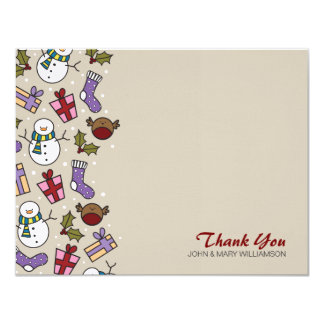 """Cute Festive Characters Thank You Flat Note Card 4.25"""" X 5.5"""" Invitation Card"""