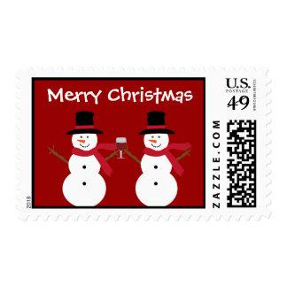 Cute Festive Christmas Snowmen & Wine Glass Postage