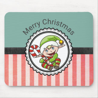 Cute Festive Elf with Candy Cane Merry Christmas Mouse Pad