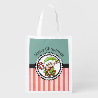 Cute Festive Elf with Candy Cane Merry Christmas Reusable Grocery Bag