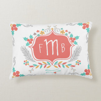 Cute Festive Floral Triple Monogram Decorative Pillow
