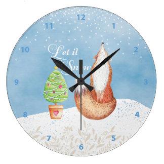 Cute Festive Fox Let it Snow Large Clock