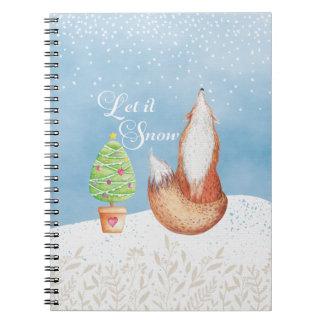 Cute Festive Fox Let it Snow Notebook