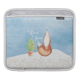 Cute Festive Fox Let it Snow Sleeve For iPads