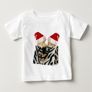 Cute Festive Kittens in Zebra Print Handbag Baby T-Shirt