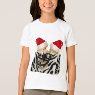 Cute Festive Kittens in Zebra Print Handbag T-Shirt