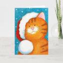 Cute Festive Orange Tabby Cat Christmas Card
