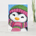 Cute Festive Penguin Chick Christmas Card card