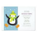 "Cute Festive Penguin   Holiday Party Invitation 5"" X 7"" Invitation Card"