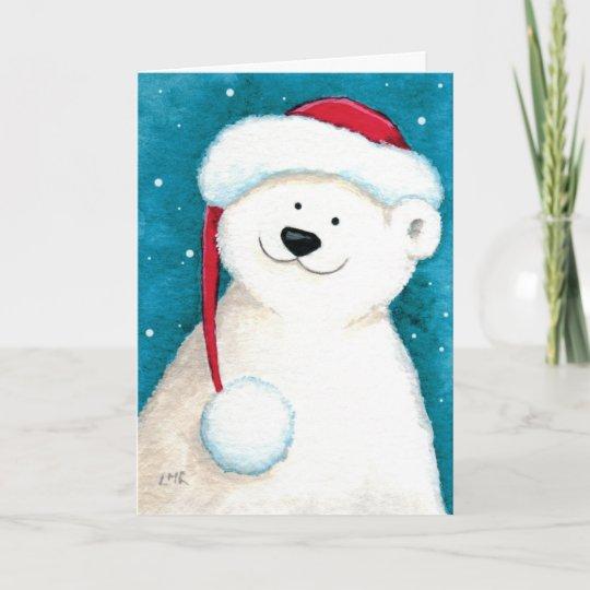 Cute Christmas Cards.Cute Festive Polar Bear Christmas Card