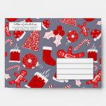 Cute Festive Red Illustrations Christmas Pattern Envelope