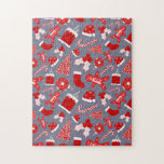 Cute Festive Red Illustrations Christmas Pattern Jigsaw Puzzle